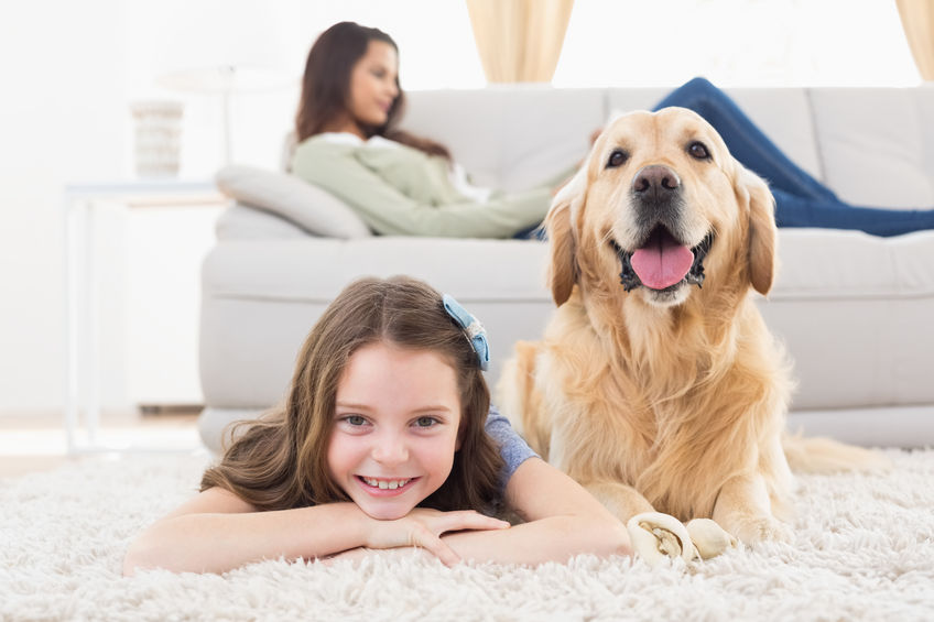 Pet with happy girl